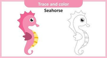 rastrear e colorir cavalo-marinho vetor