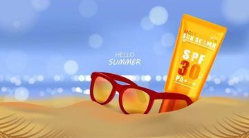 Praia de verão e luz do mar, protetor solar e óculos de sol no fundo da praia na ilustração 3D vetor