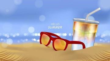 verão praia e luz do mar, coquetel de refrigerante e óculos de sol no fundo da praia na ilustração 3D vetor
