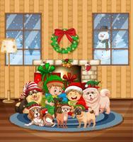 cena interna de natal com muitas crianças e cachorros fofos vetor