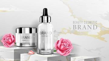 frasco cosmético de luxo, creme para cuidados com a pele, cartaz de cosméticos de beleza, produto e fundo de mármore, ilustração vetorial vetor