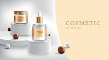 publicidade de creme e spray. tubo cosmético e frasco realista no pedestal do palco. modelo de design de marca e embalagem. ilustração vetorial vetor