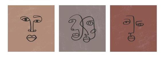faces de desenho contínuas abstratas de uma linha. arte minimalista, contorno estético. retrato tribal do casal de linha contínua. ilustração vetorial moderna em estilo étnico com fundo nude vetor