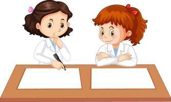 dois jovens cientistas uniformizados com papel em branco sobre a mesa vetor
