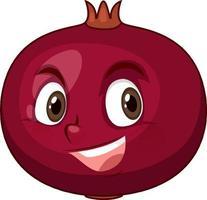 personagem de desenho animado de romã com expressão facial vetor