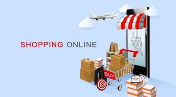 compras online, smartphone e carrinho com produtos com fundo azul vetor