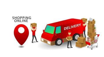 conceito de compras online, trabalhadores de entrega de equipe de serviços, produtos no carrinho com fundo branco isolado vetor