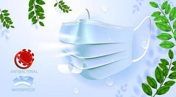 máscara anti-poluição facial, para proteção médica e anti-poeira pm2.5, proteção contra perigo ou saúde, doença, tosse, hálito, alergia, dispositivos hospitalares vetor