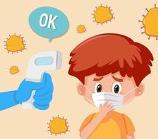 temperatura corporal verificando com um menino usando máscara vetor