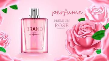 frasco de cosmético de luxo, creme para cuidados com a pele, pôster de produto cosmético de beleza, com fundo de cor rosa e rosa vetor