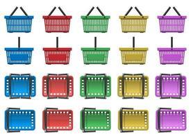 conjunto de ilustração vetorial de cesta de supermercado isolado no fundo branco vetor