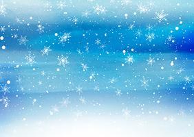 Flocos de neve caindo em um fundo pintado vetor