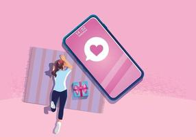 uma mulher usa um conceito de dia dos namorados de smartphone, site ou aplicativo para celular, marketing e marketing digital. o smartphone de promoção de mensagem, ilustração vetorial design plano vetor