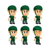 Conjunto de caracteres de soldado ocioso vetor