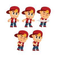 personagem de menino com chapéu definido vetor