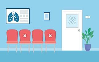 distanciamento social dentro da sala de espera durante a pandemia do coronavírus