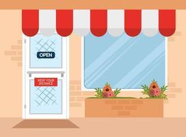 fachada da loja com sinal de distância social vetor