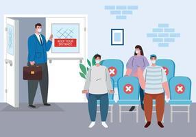pessoas distanciamento social na sala de espera