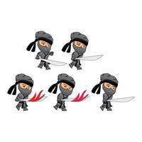 Conjunto de ilustração de modelo de sprites jogo de ataque ninja preto vetor