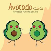 abacate kawaii, abacate correndo para amar vetor