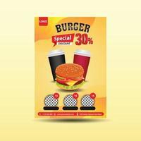 modelo de vetor de panfleto de hambúrguer