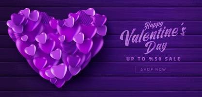cartaz de venda do dia dos namorados ou banner com cor roxa muitos corações doces em fundo de cor roxa texturizada de madeira. promoção e modelo de compra ou para amor e dia dos namorados. vetor