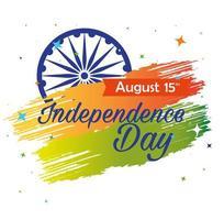 feliz dia da independência indiana, comemoração 15 de agosto, com decoração de roda de ashoka vetor