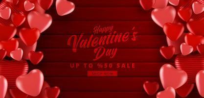 cartaz de venda do dia dos namorados ou banner com cor vermelha muitos corações doces em fundo de cor vermelha texturizada de madeira. promoção e modelo de compra ou para amor e dia dos namorados. vetor