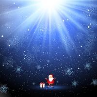 Santa bonito e presente no fundo do floco de neve vetor