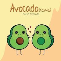 abacate kawaii, amo abacates vetor
