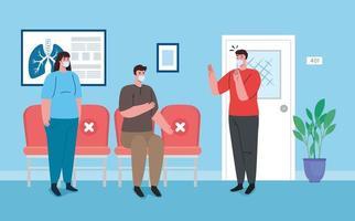 pessoas distanciamento social na sala de espera vetor