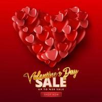cartaz de venda do dia dos namorados ou banner com muitos corações doces sobre fundo de cor vermelha. promoção e modelo de compra ou para amor e dia dos namorados. vetor