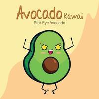 abacate kawaii, abacate olho estrela vetor