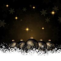 Fundo de Natal com enfeites aninhado na neve vetor