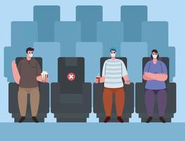 pessoas distanciamento social no teatro social