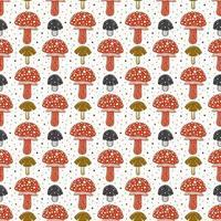 agaric voar. cogumelo venenoso. padrão sem emenda, textura, plano de fundo. design de embalagem. vetor de tinta.