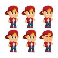 conjunto de personagens de menino vetor