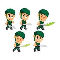 Conjunto de caracteres do jogo de espada de ataque do soldado vetor