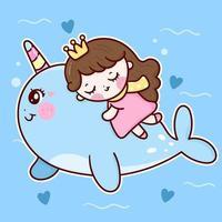 Desenhos animados de princesa fofa dormindo no unicórnio narval vetor vida marinha fundo animal kawaii