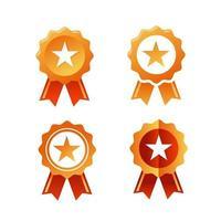 desenho de ícone plano de um distintivo de prêmio de fita com uma estrela no centro vetor