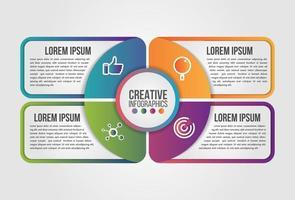 infográfico círculo torta modelo de vetor moderno cronograma para negócios com 4 etapas