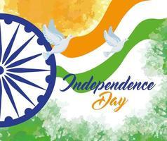 feliz dia da independência indiana com decoração de roda ashoka vetor