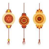 conjunto de rakhi, raksha bandhan, tradição cultural hindu celebração festival da Índia vetor