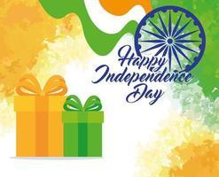 Feliz dia da independência indiana com decoração de roda Ashoka e caixas de presente vetor