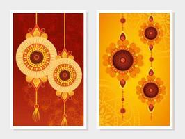 conjunto de cartões comemorativos para a celebração raksha bandhan