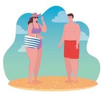 jovem casal na praia, temporada de férias de verão