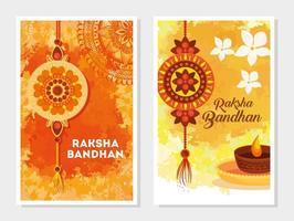 conjunto de cartões comemorativos para a celebração raksha bandhan vetor