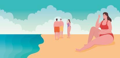 pessoas curtindo a praia, temporada de férias de verão vetor