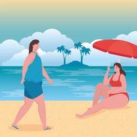 linda mulher em trajes de banho na praia, temporada de férias de verão vetor