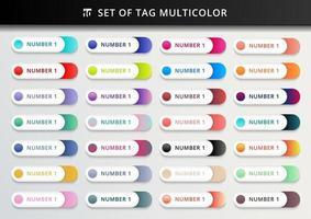 conjunto de marcadores, adesivos, etiquetas, tags círculos geométricos arredondados multicoloridos em fundo branco vetor